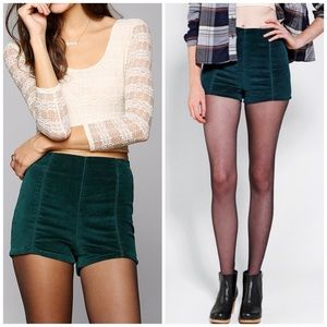 Urban Outfitters Rosie Velvet Pinup Short in Green
